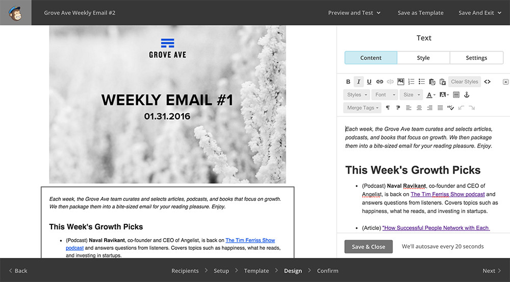 Grove Ave newsletter on Mailchimp