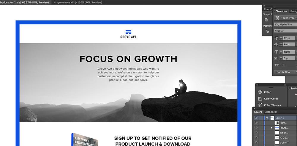 Grove Ave website design in progress