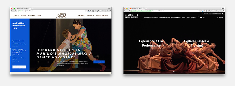Dance websites for Alvin Ailey American Dance Theater and Jacob's Pillow Dance.