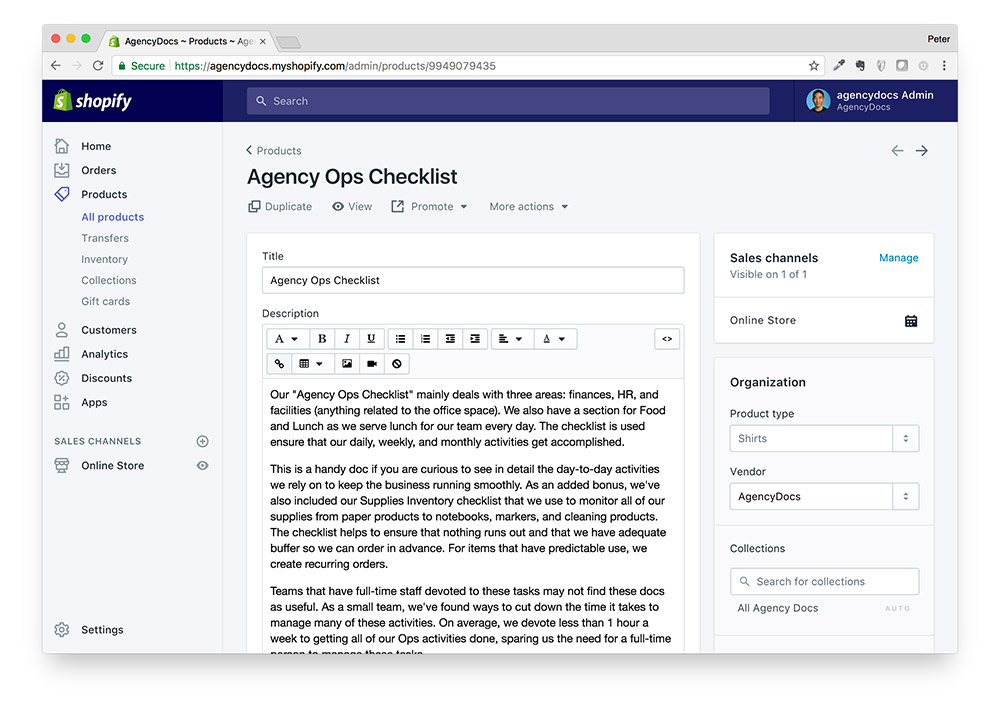 AgencyDocs Product Descriptions
