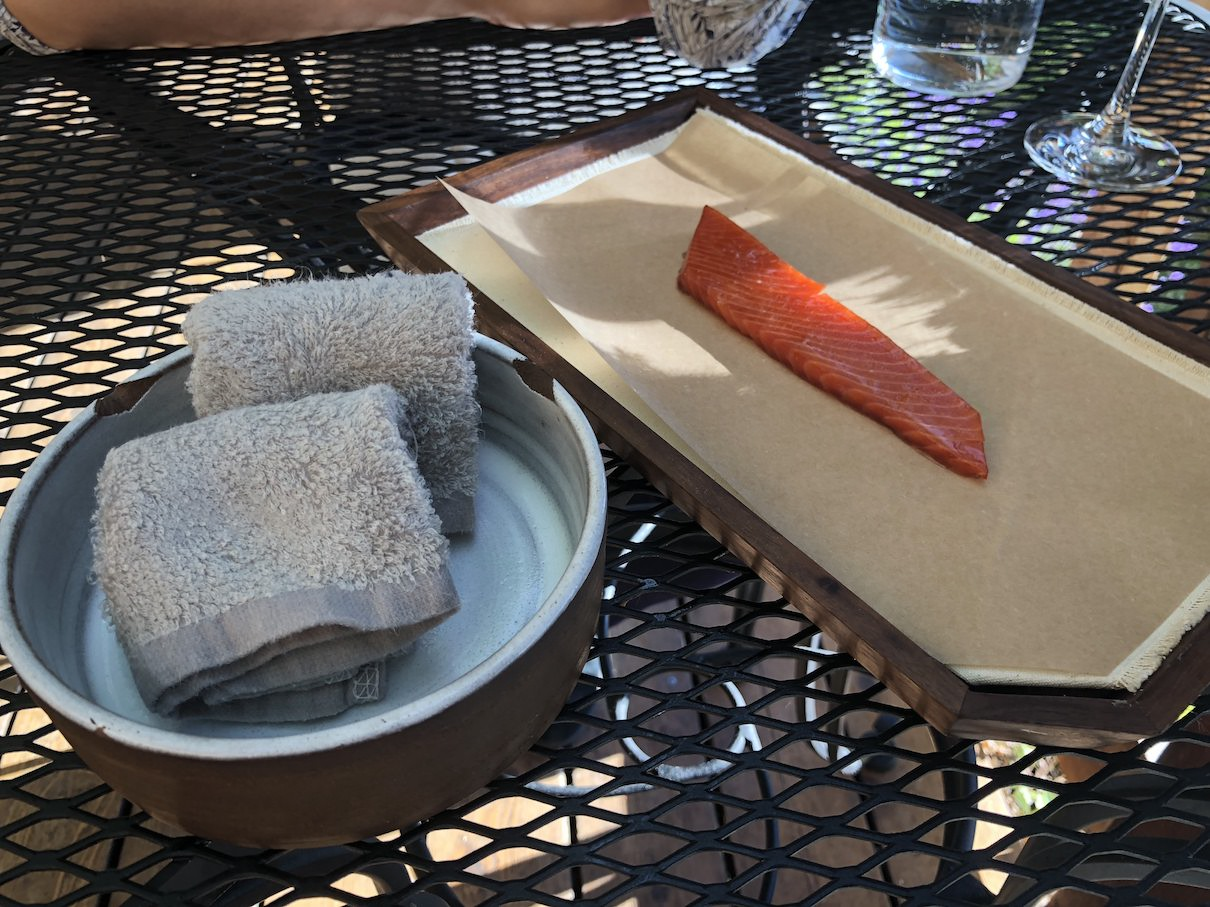 Smoked wild salmon at The Willows Inn