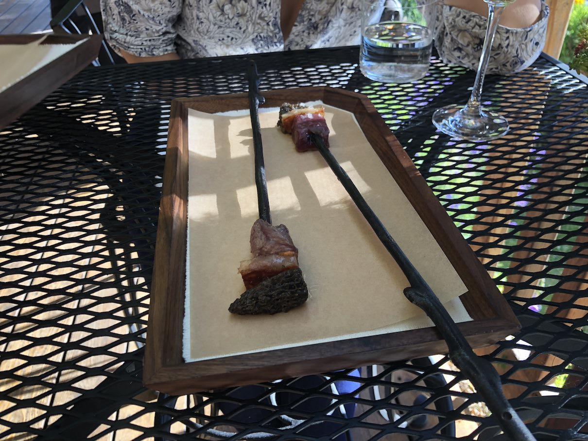 Venison skewers at The Willows Inn