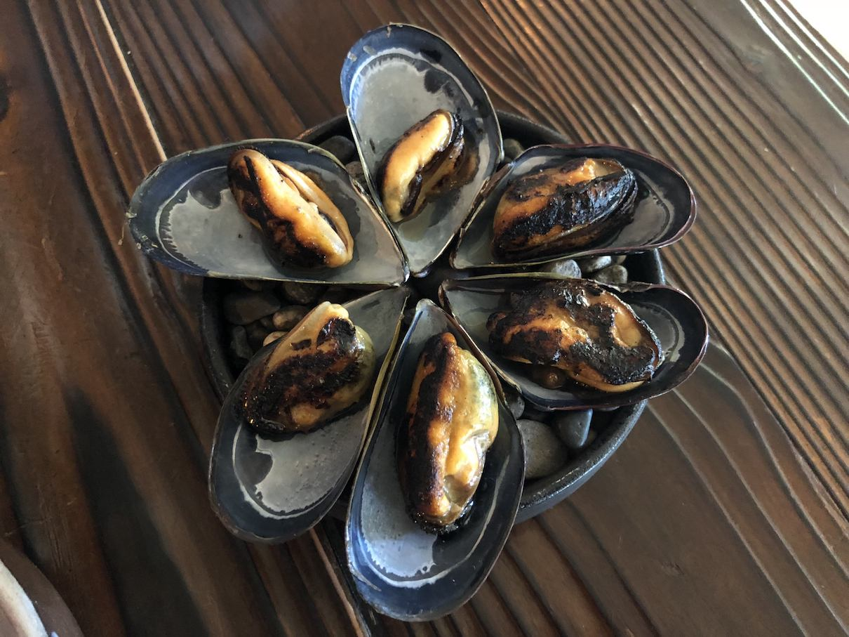 Smoked mussels at The Willows Inn