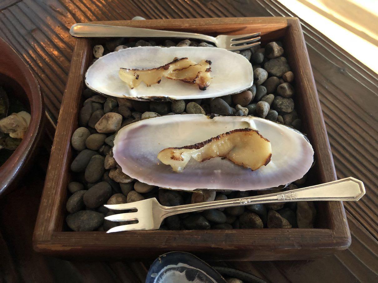 Razo clams at The Willows Inn