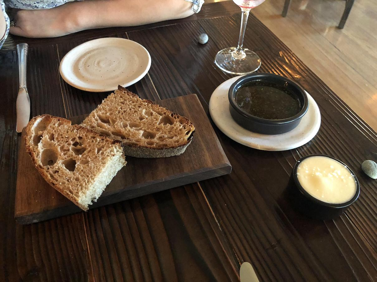 Sourdough bread with chicken fat and butter at The Willows Inn