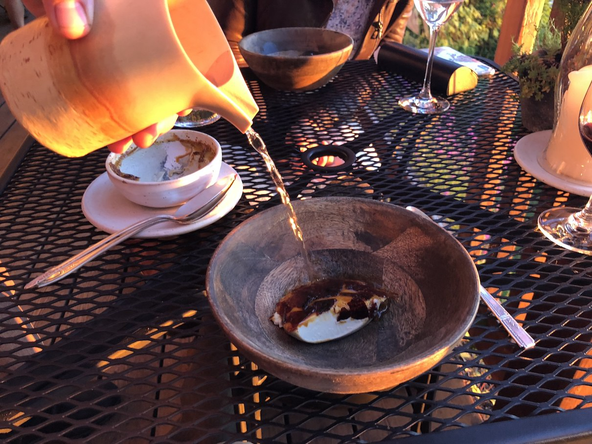 Birch creme brulee with a birch-flavored broth at The Willows Inn