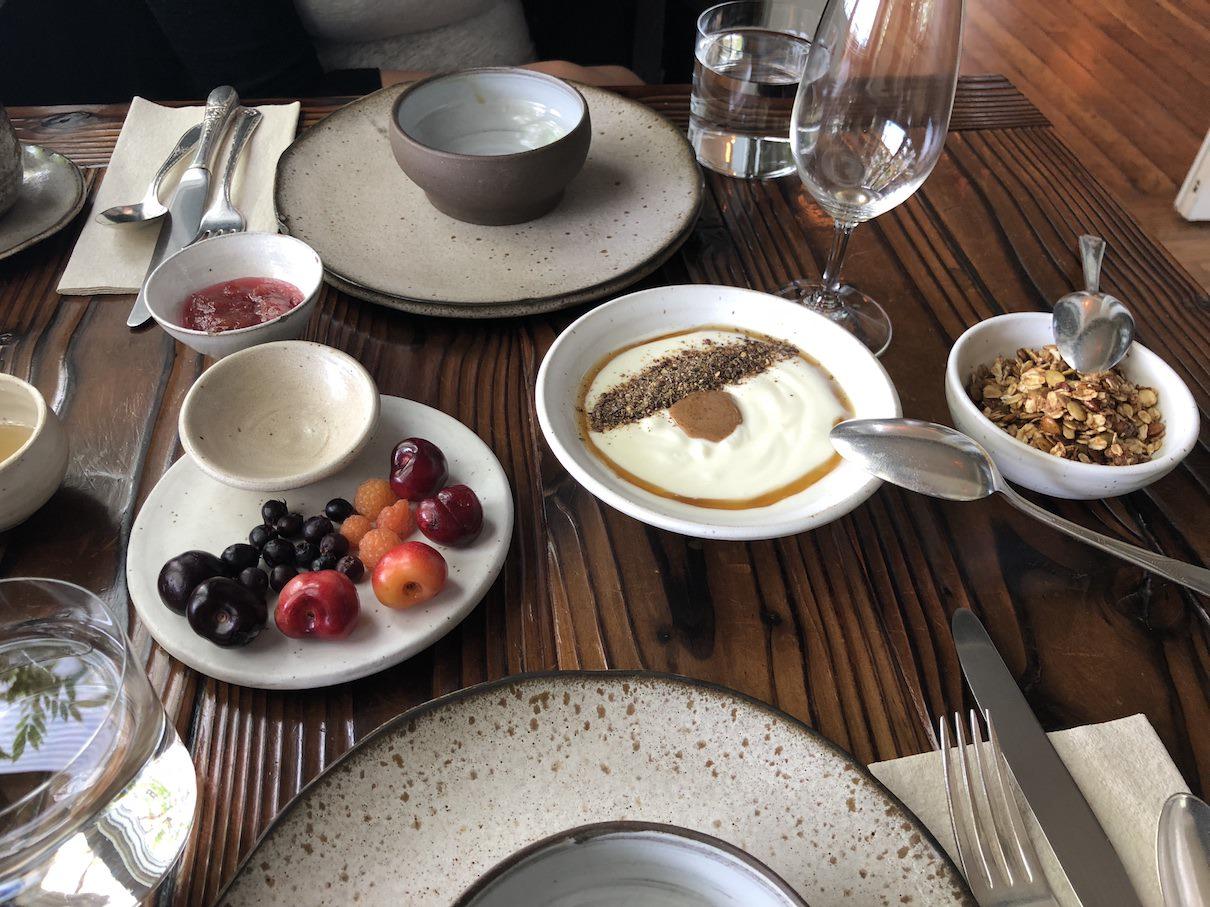 Breakfast yogurt at The Willows Inn