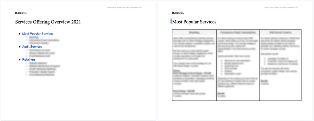 Not going to give away all our secret juice, but here's a couple pages from our Services Offering Overview doc. One is the table of contents and the other shows 3 services outlined with a few details and pricing. Nothing complex and easily digestible for the entire team.