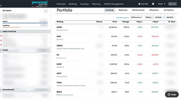 Personal Capital stock holdings view